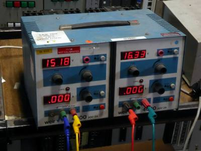 Practical twin variable bench power supply with red digital displays