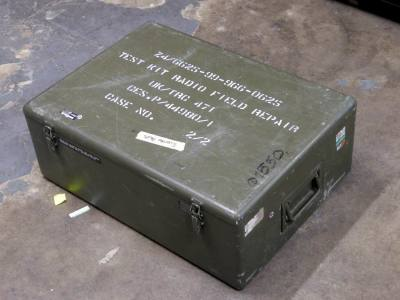 Khaki painted aluminium military/army flight case