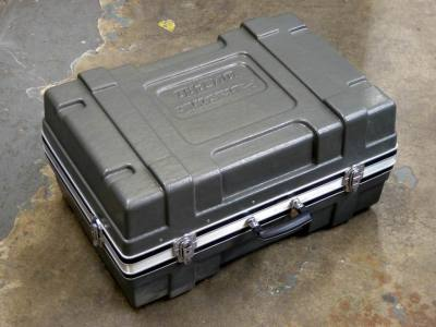 Ruggedised, ribbed grey plastic flight case