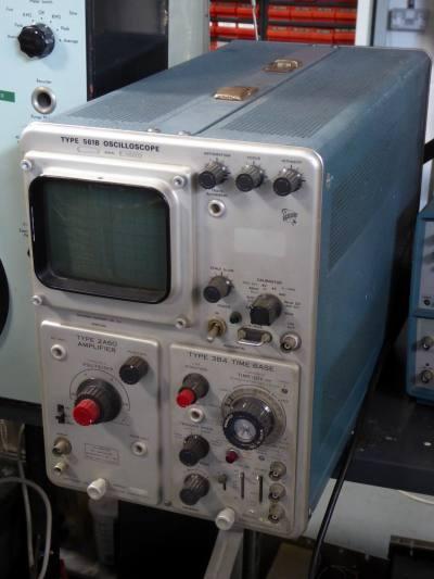 1970s era laboratory oscilloscope with rectangular screen