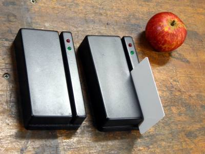 Door entry card swipe reader boxes in satin black