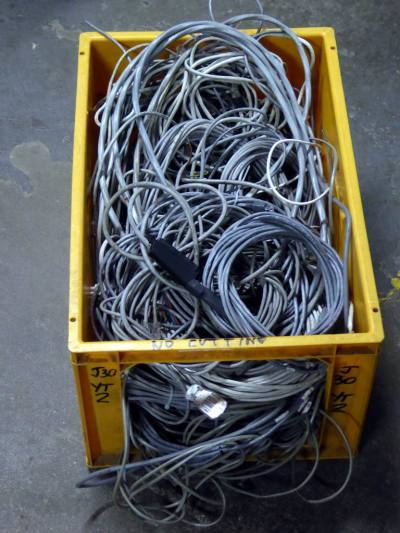 Crate of neutral grey cables