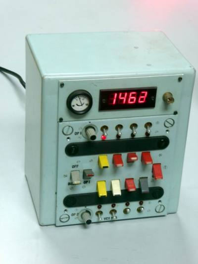 Practical admiralty blue military unit with counter, tab switches, meter & winking LEDs