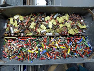 Unused vintage electronic components, dog bone & carbon composition resistors, capacitors, coils etc