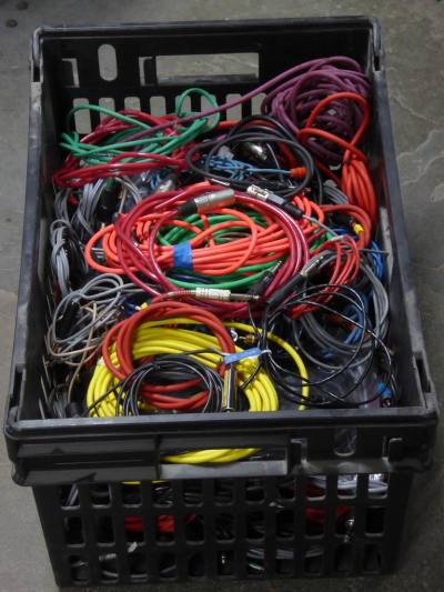 Crate of audio/recording studio/music band connecting cables