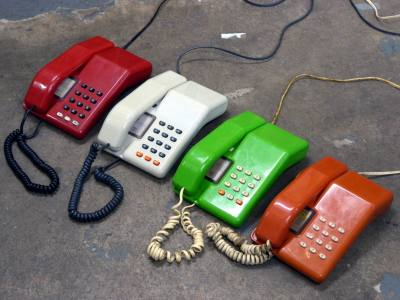 Coloured BT Viscount telephones