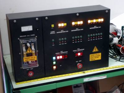 Practical large black electrical control box with coloured square lamps & adjustable current meter