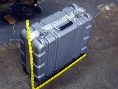Ruggedised, heavily ribbed Peli style flight case in silver/grey