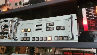 Practical Navy Antenna Control panel with square illuminated buttons