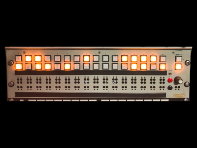 "Practical 19"" rack panel with multiple illuminated lights"
