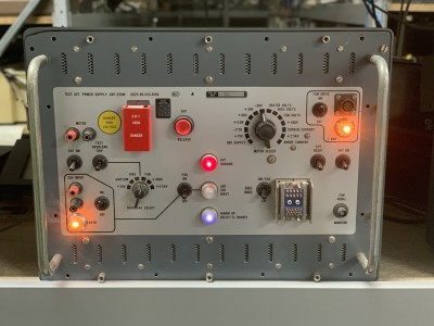Practical Grey Panel (Test Set Power Supply) with switches and lights