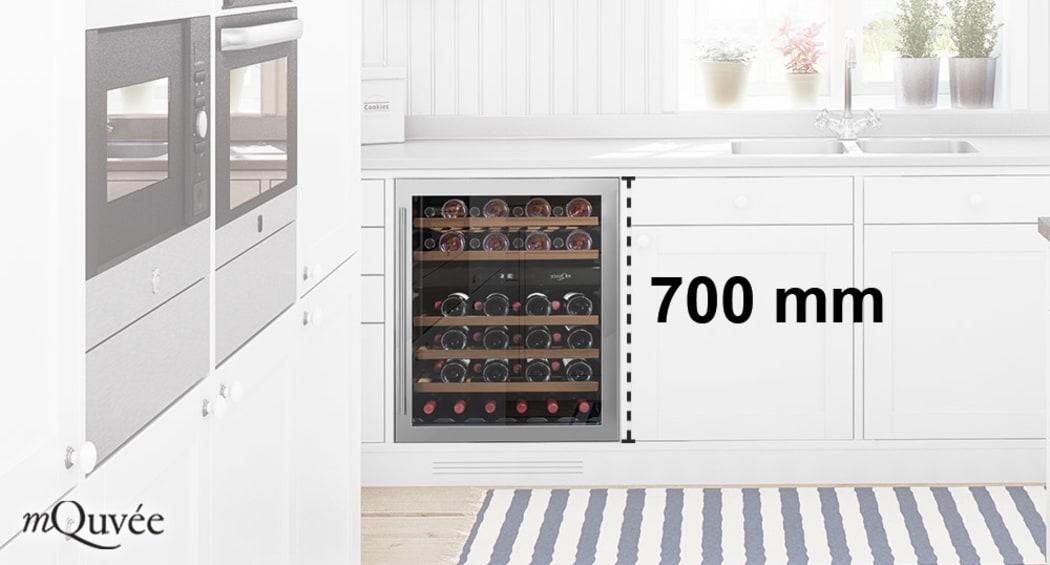mQuvée – Sisäänrakennettava viinikaappi 700 mm korkealla ovella