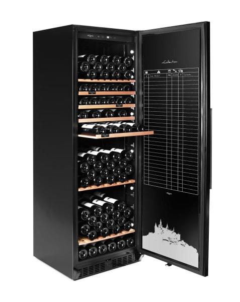 Rejält vinlagringsskåp i svart med plats till 172 flaskor