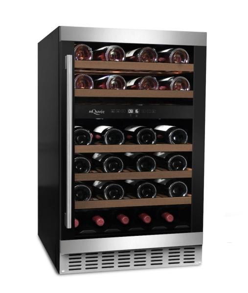 Inbyggbar vinkyl med kombinerad dörr i svart och rostfritt