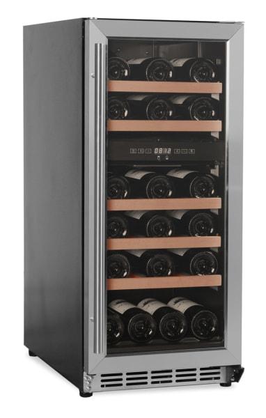 Inbyggbar rostfri vinkyl med plats för 29 flaskor