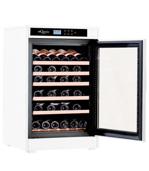 Vitt vinlagringsskåp som lagrar 46 vinflaskor