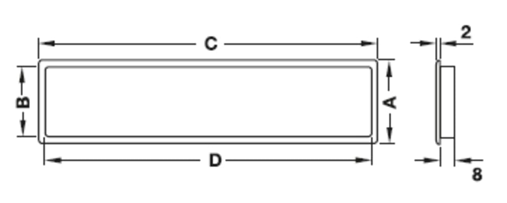 Rejilla de ventilación - plástico (230 x 68 mm)