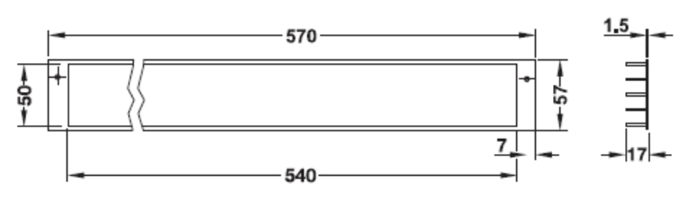 Rejilla de ventilación - aluminio (570 x 57 mm)