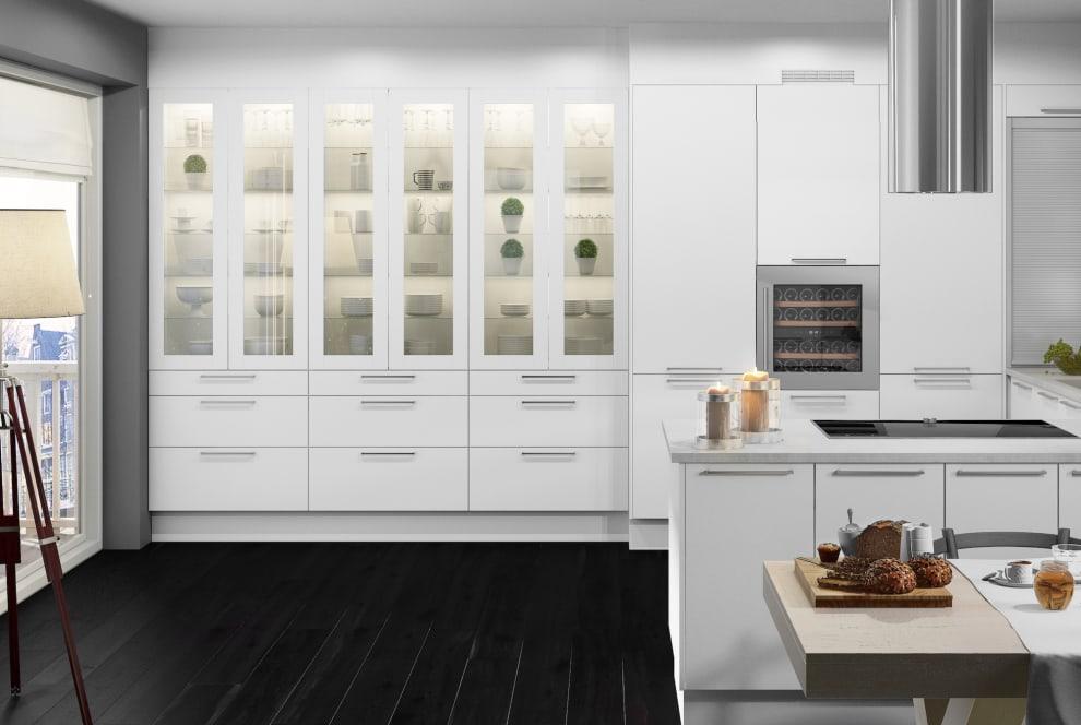 Integrerbar vinkyl i rostfri finish i vitt kök