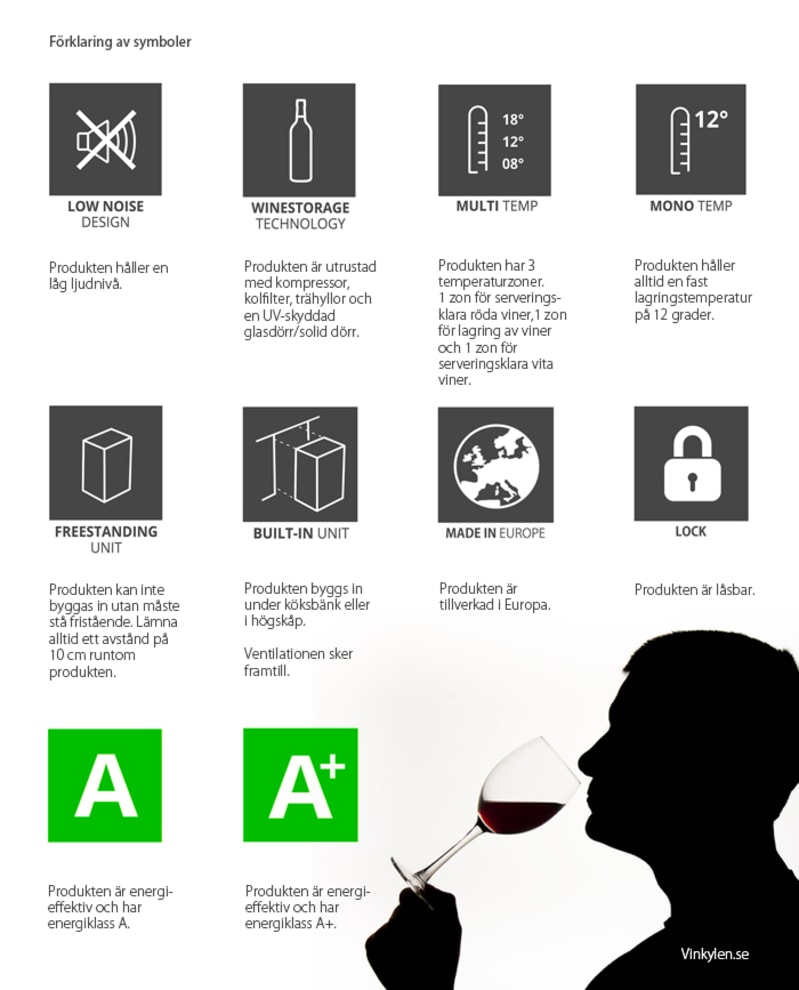 Vinlagringsskap - WineStore 177 - 15 hylleplan - Anthracite Black