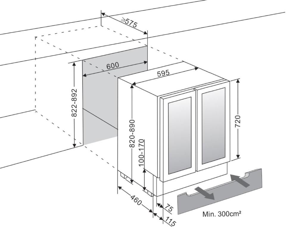 Vinkøleskab til indbygning Præsentationshylde - WineCave 60D2 Powder White