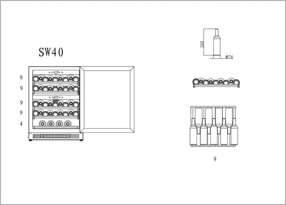 Vinkøleskab til indbygning - Scandinavian Collection 40 Stainless