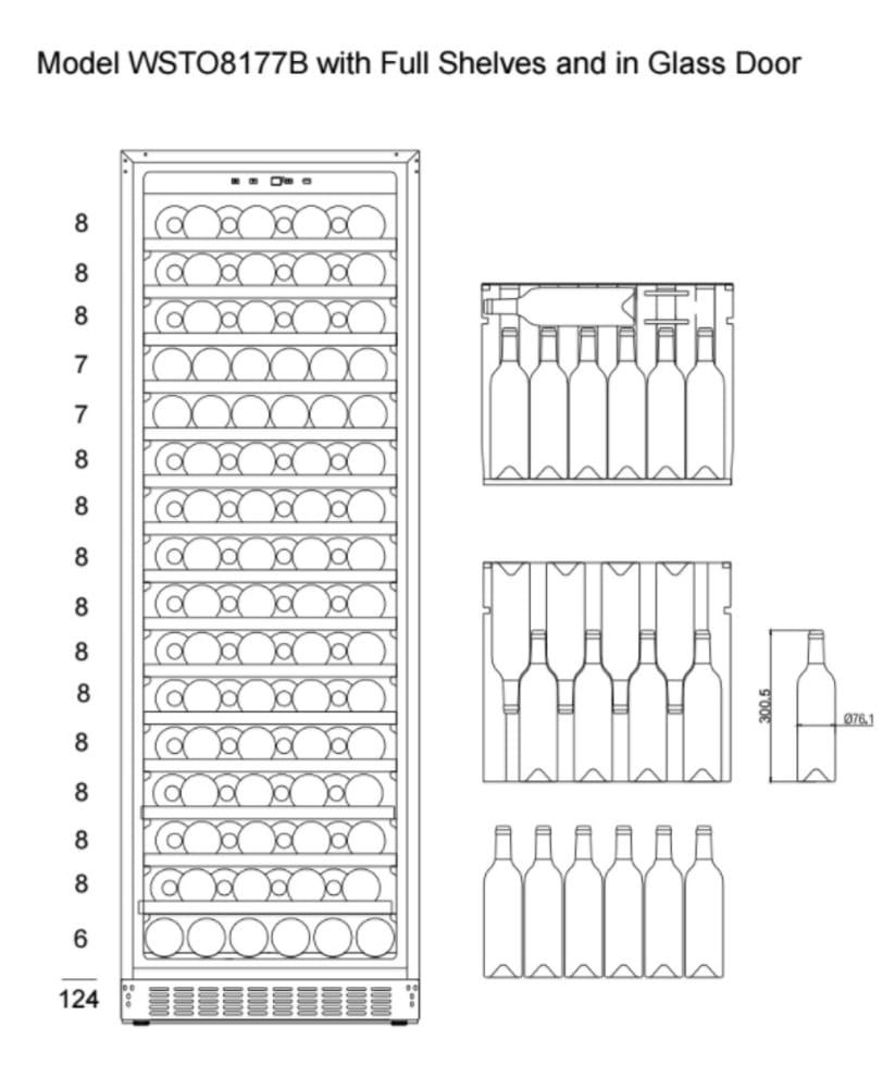 mQuvée Weinklimaschrank - WineStore 177 - 15 Regalböden - Anthracite Black (B: 59,5 x H: 176,8 x T: 57 cm)