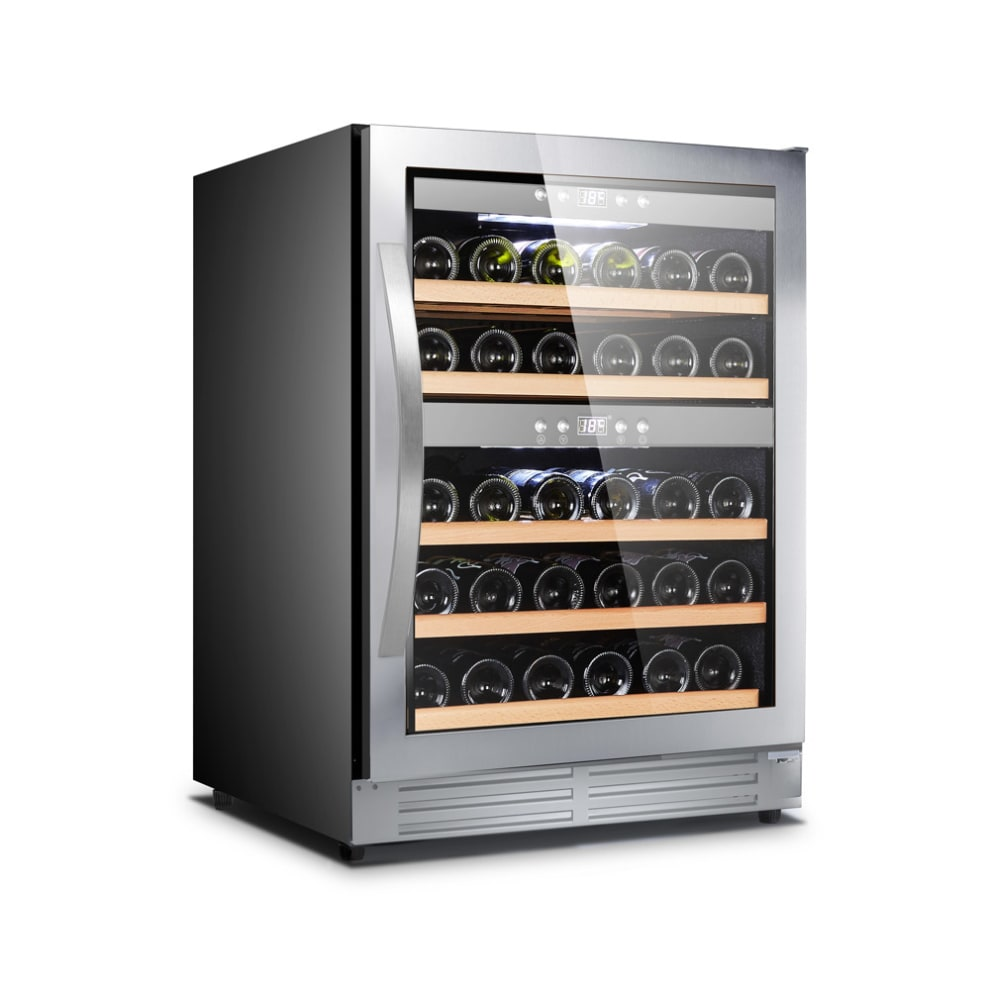 Inbyggbar rostfri vinkyl med plats för 40 flaskor