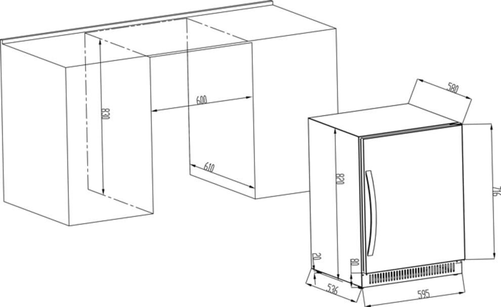 Cavin vinkøleskab til indbygning - Scandinavian Collection 40 Stainless