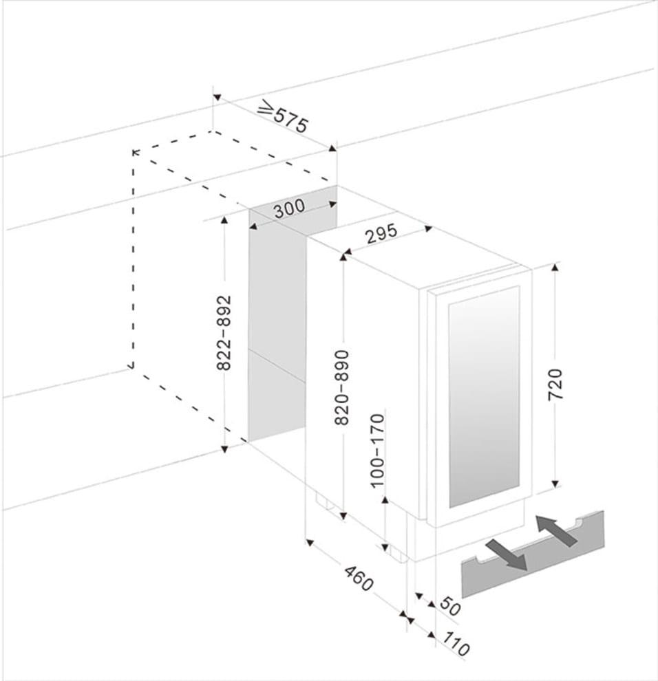Ølkøleskabe til indbygning rustfri - BeerServer 30 cm