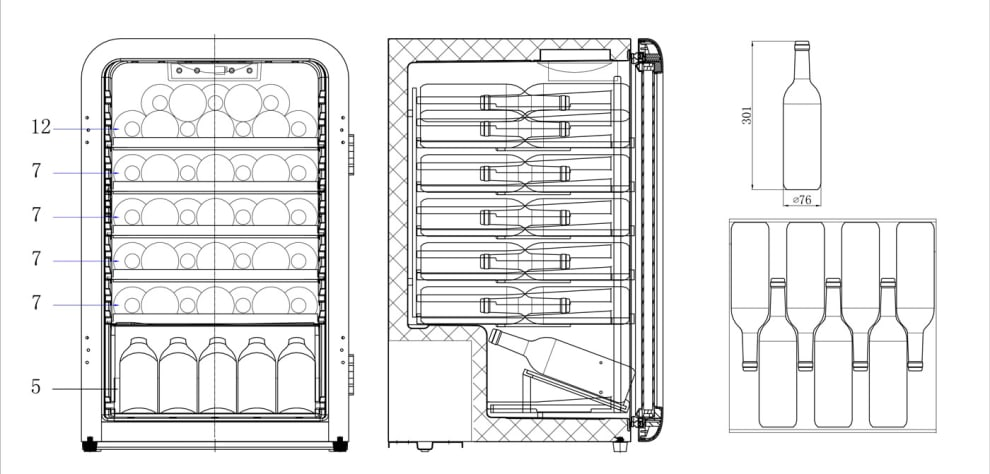 Cavin fritstående vinkøleskab – Polar Collection 49 Retro