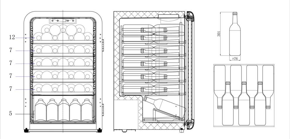 Cavin fritstående vinkøleskab – Polar Collection 49