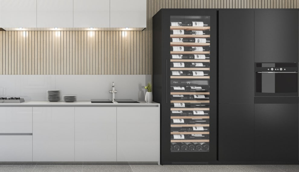mQuvée Sisäänrakennettava viinikaappi – WineCave 187 Anthracite Black Label-view