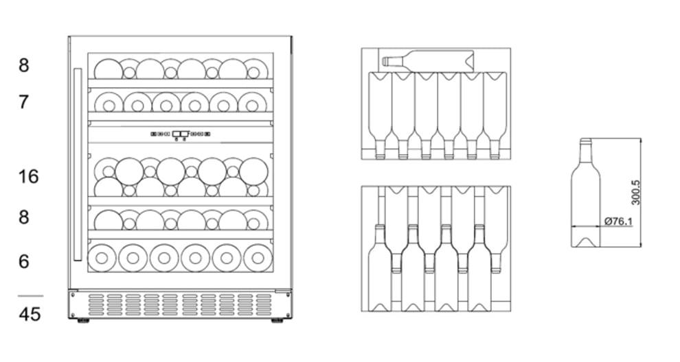 Einbau-Weinkühlschrank - WineCave Exclusive 60D Fullglass Black Push/Pull
