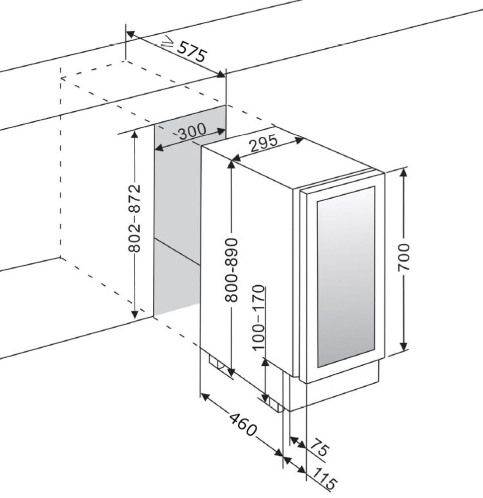 Vinkøleskab til indbygning Præsentationshylde - WineCave 700 30S Stainless