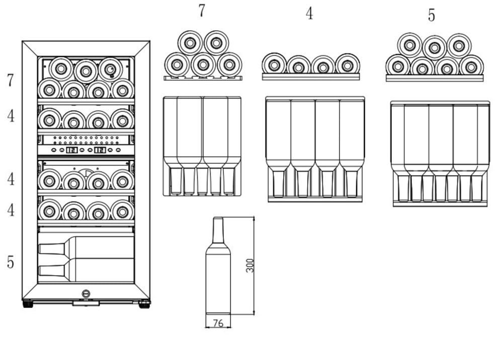 Fritstående vinkøleskab - WineExpert 24 Fullglass Black