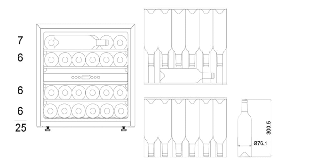 Integrerbart vinskap - WineKeeper Exclusive 25D Push/Pull Custom Made