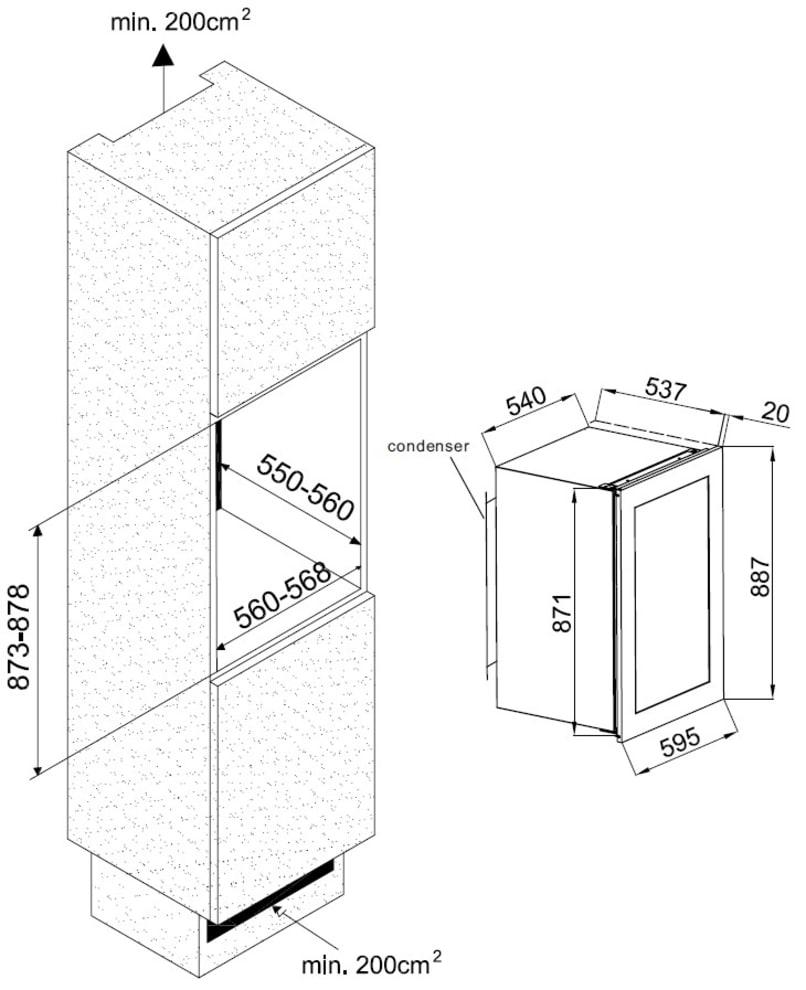 Avintage Premium integrérbart vinkøleskab - AVI48CDZA
