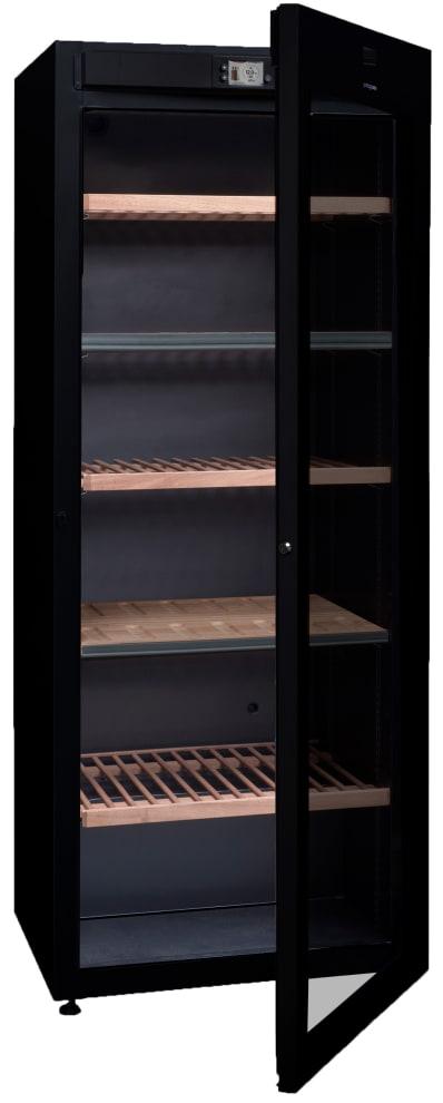Fristående svart multitemperatursskåp från Avintage med öppen dörr