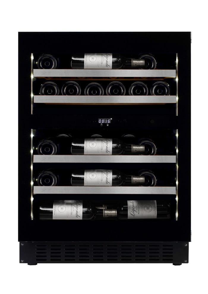 mQuvée Einbau-Weinkühlschrank - WineCave Exclusive 700 60D Fullglass Black Push/Pull