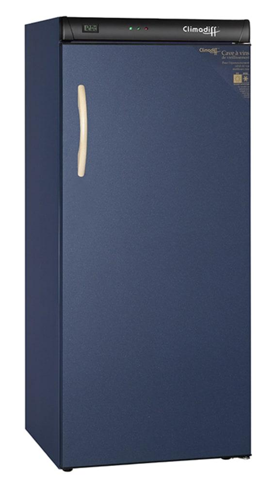 Vinlagringsskåp med solid dörr och blå design