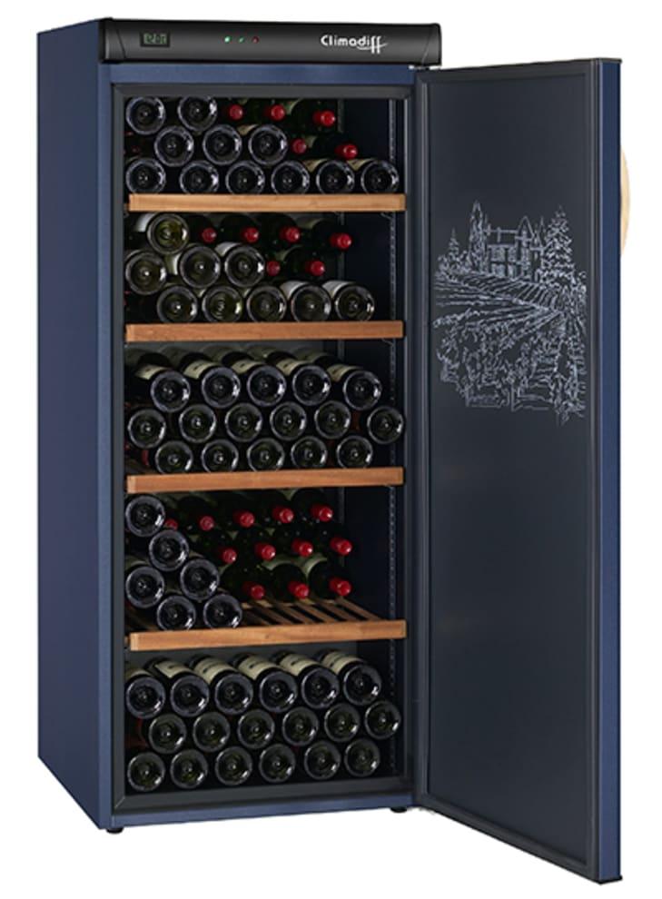 Vinlagringsskåp från Climadiff i blå design