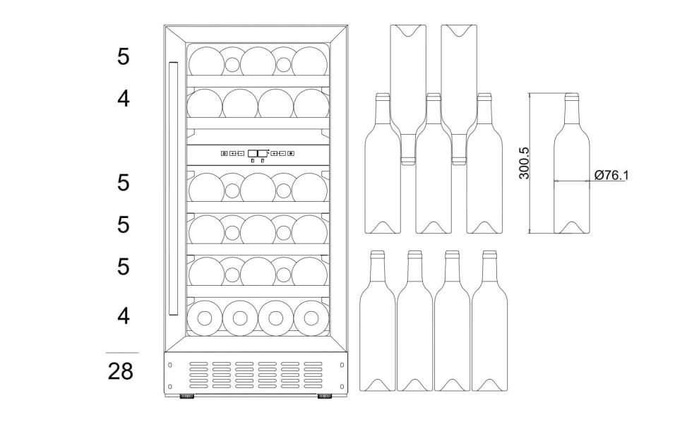 Vinkøleskab til indbygning - WineCave 700 40D Custom Made