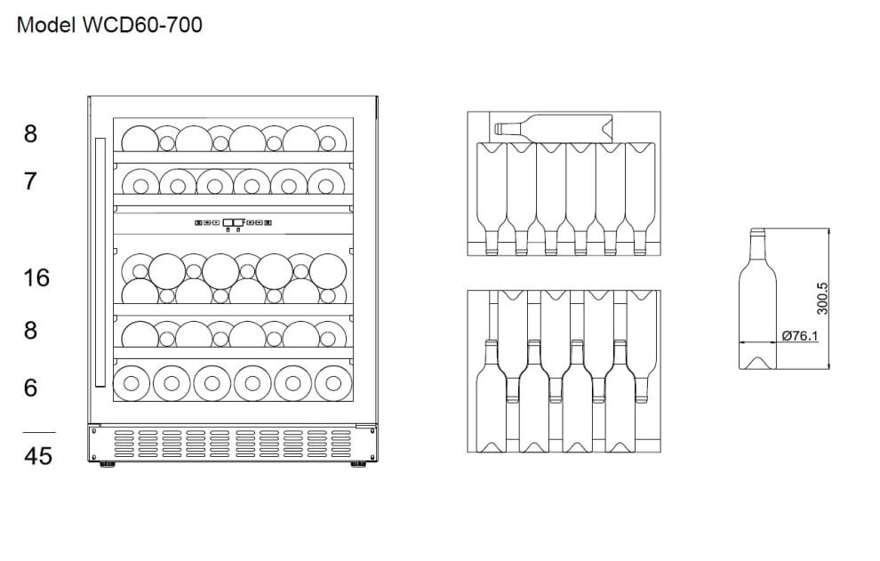 mQuvée innbyggbart vinskap - WineCave 700 60D Stainless