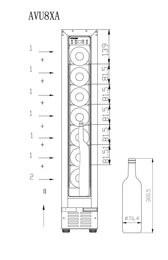 Avintage Sisäänrakennettava viinikaappi – AVU8XA