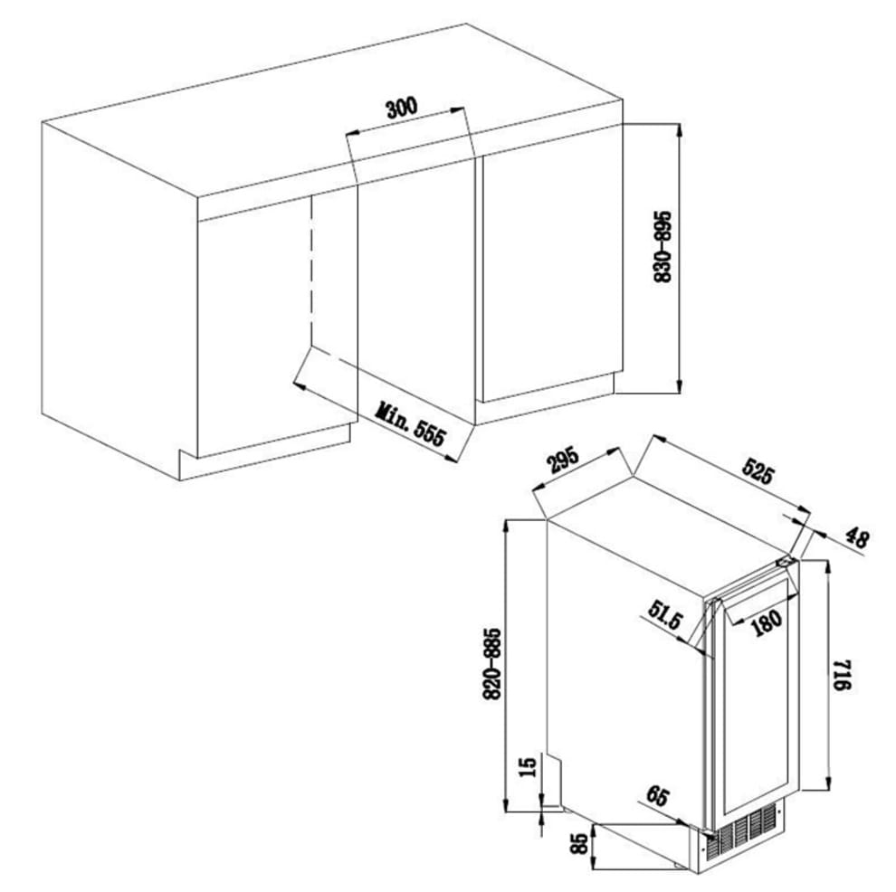 Avintage vinkøleskab til indbygning - AVU18TDZA