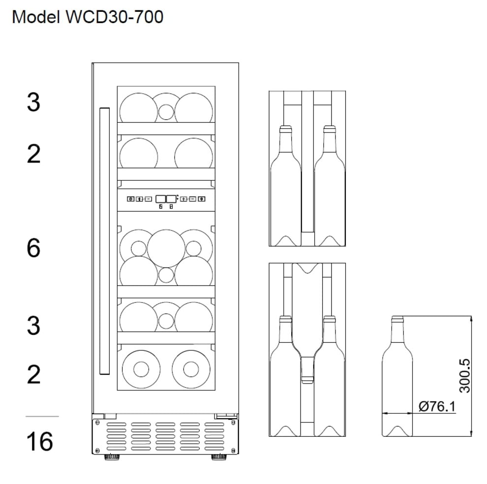 Inbyggbar vinkyl - WineCave 700 30D Stainless