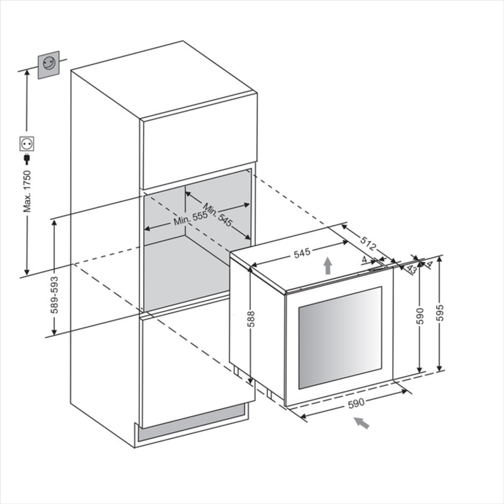 Integrérbart vinkøleskab - WineKeeper 25D Anthracite Black