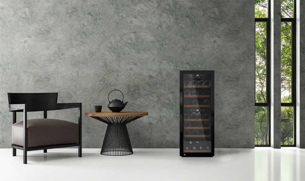 mQuvée Vapaasti seisova viinikaappi – WineExpert 38 Fullglass Black (L: 39,5 x K: 104 x S: 63 cm)