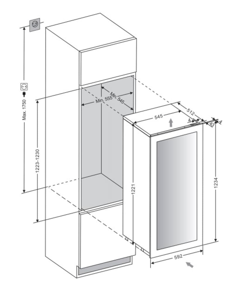 Integrérbart vinkøleskab - WineKeeper 70D Anthracite Black